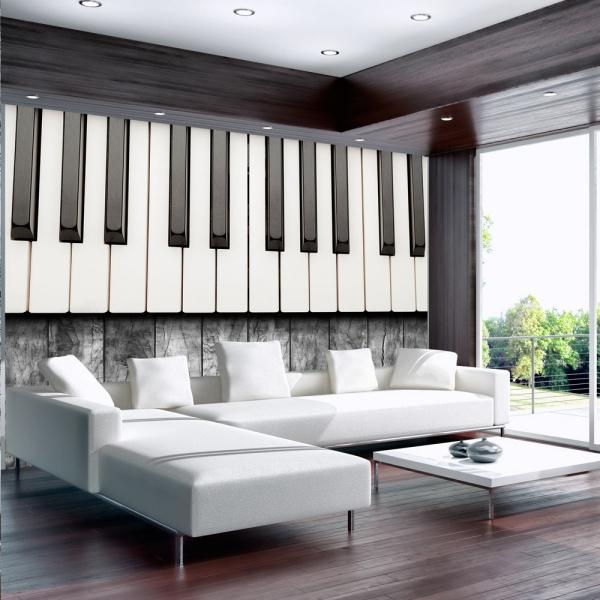 Fototapeta - Zainspirowane Chopinem - szare drewno (300x210 cm) A0-XXLNEW010396
