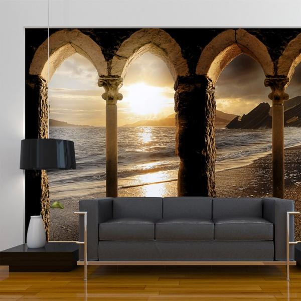 Fototapeta - Zamek na plaży (300x210 cm) A0-XXLNEW010281