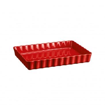 Głębokie, prostokątne naczynie do tarty - 24x34cm - czerwony