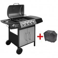 Grill gazowy ze strefą gotowania 4+1, kolor czarno-srebrny