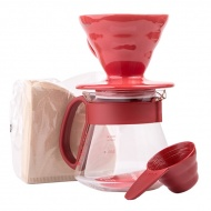 Hario zestaw V60 Dripper & Pot Red - drip + server + filtry