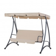 Huśtawka beżowa - meble ogrodowe - stal - ławka - Giacalone