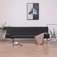 Kanapa rozkładana z dwiema poduszkami, ciemnoszara, poliester