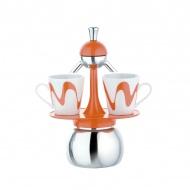 Kawiarka 2 Top Moka + 2 filiżanki America Set pomarańczowa
