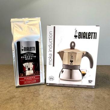 kawiarka moka induction 3tz złota opakowanie i kawa