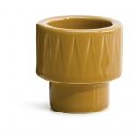 kieliszek na jajko/świecznik na tealight, żółty, ceramika, śred. 5,7 x 5,7 cm