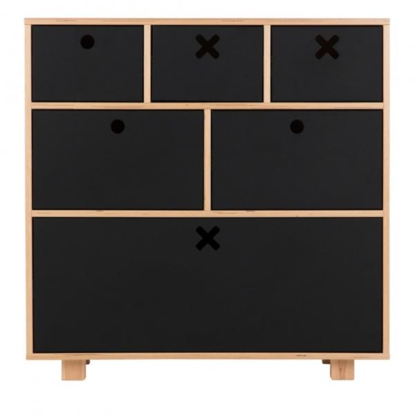 Komoda wysoka 80x45 Durbas Style Kółko Krzyżyk czarny mat tablicowy DUS101
