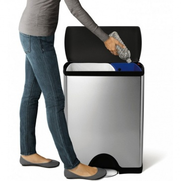 Kosz na śmieci pedałowy Deluxe Recycler 46L Simplehuman srebrny