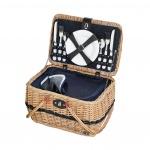 kosz piknikowy dla 4 osób, 40 x 28 x 25 cm, jasnobrązowy