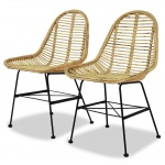 Krzesła balkonowe 2 szt. naturalny rattan