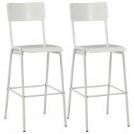 Krzesła barowe, 2 szt., białe, sklejka i stal