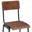 Krzesła barowe, 2 szt., brązowe, sklejka i stal
