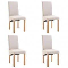 Krzesła do jadalni 4 szt. kremowe tapicerowane tkaniną