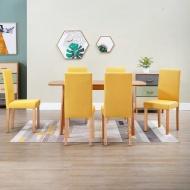 Krzesła do jadalni, 6 szt., żółte, tapicerowane tkaniną