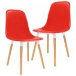 Krzesła do kuchni 2 szt. czerwone plastik