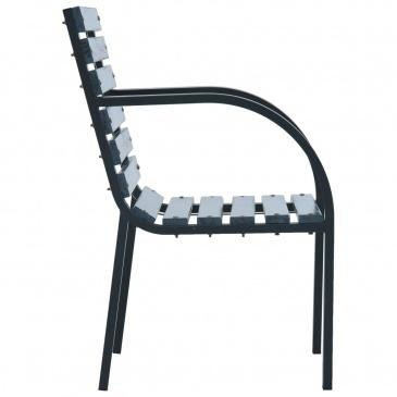 Krzesła ogrodowe, 2 szt., szare, drewno