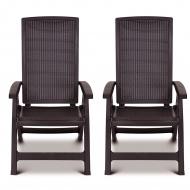 Krzesła regulowane Allibert Montreal brązowe 2 sztuki