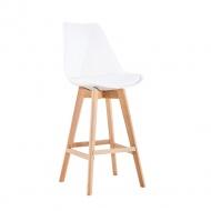 Krzesło barowe Nordic Bar białe-podstawa dębowa