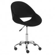 Krzesło biurowe welur czarne SELMA