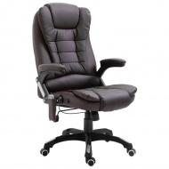 Krzesło biurowe z masażem, brązowe, sztuczna skóra