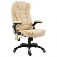 Krzesło biurowe z masażem, kremowe, sztuczna skóra