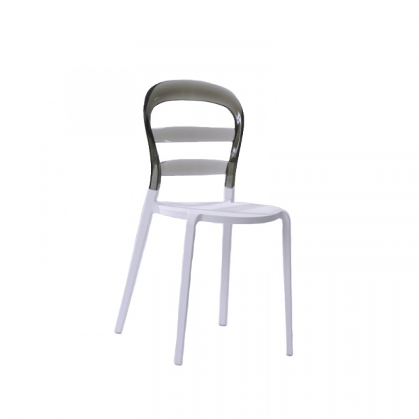 Krzesło Bubu białe siedzisko/dymione op. DK-18208