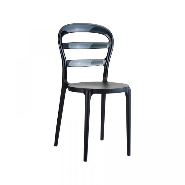 Krzesło D2 Miss Bibi czarne, czarne oparcie DK-48708