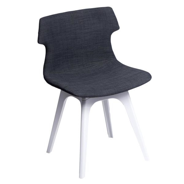 Krzesło D2 Techno tapicerowane grafitowe, podstawa biała DK-63962