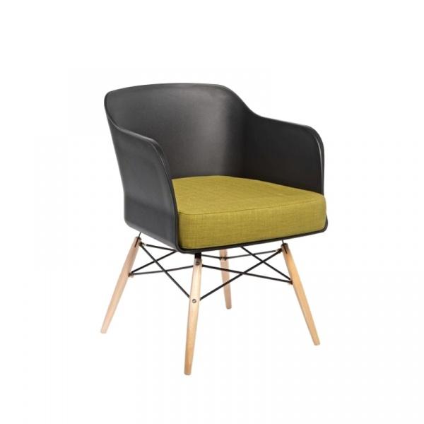 Krzesło D2 Viva czarne z oliwkową poduszką 5902385703642