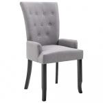Krzesło do jadalni z podłokietnikami jasnoszare materiałowe