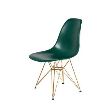 Krzesło DSR GOLD myśliwska zieleń.34 - podstawa metalowa złota