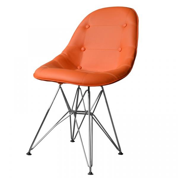 Krzesło King Bath Eames EPC DSR ekoskóra pomarańczowe LI-KK-132PU.M.POMARANCZOWY