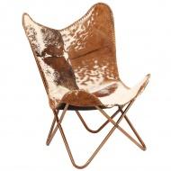 Krzesło motyl, prawdziwa kozia skóra, brązowo-białe