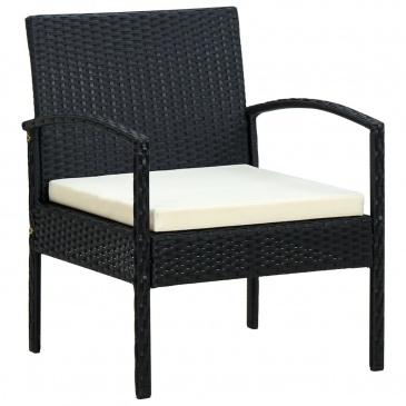 Krzesło ogrodowe z poduszką, polirattan, czarne