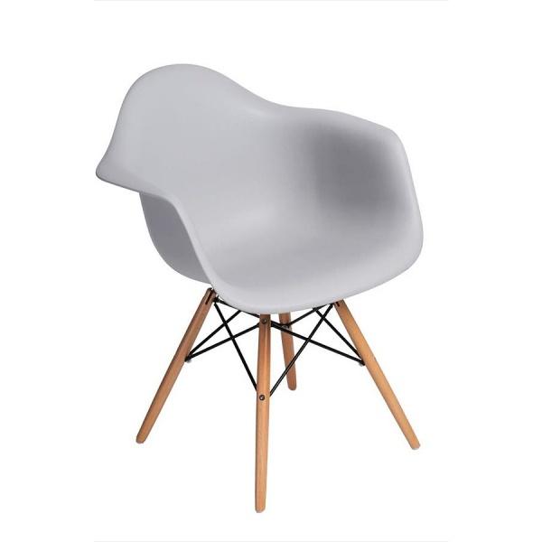 Krzesło P018W PP białe, drewniane nogi HF 5902385700672