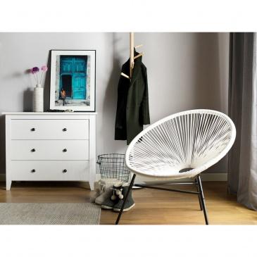 Krzesło rattanowe białe ACAPULCO