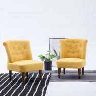 Krzesło w stylu francuskim, żółte, materiałowe