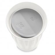 Kubek do kawy 350 ml Koziol Click biały z szarą przykrywką