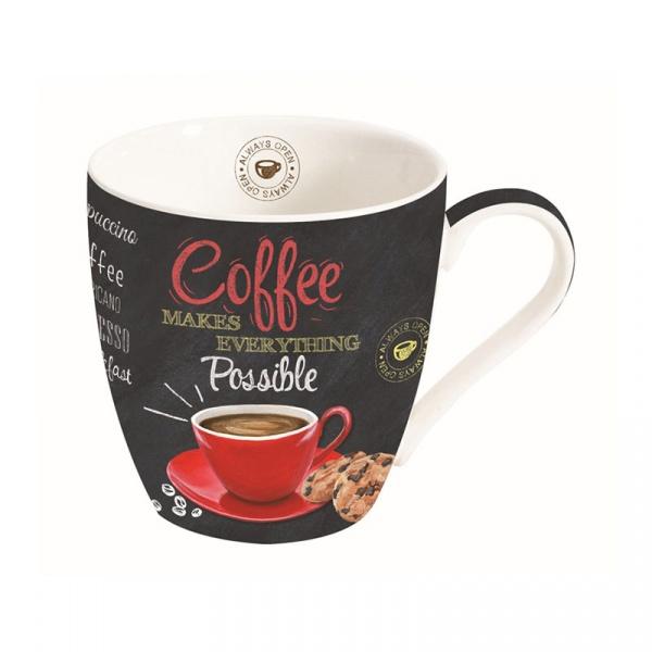 Kubek porcelanowy do kawy 0,35L Nuova R2S czarny czerwony 1010 ICTR