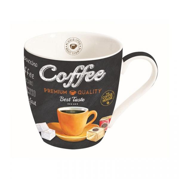 Kubek porcelanowy do kawy 0,35L Nuova R2S czarny żółty 1010 ICTO