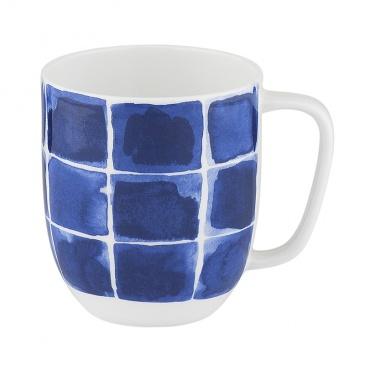 Kubek porcelanowy w kratę 380 ml Nuova R2S Indigo niebieski