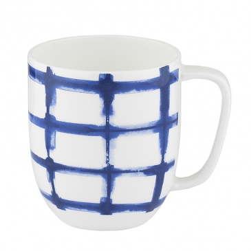 Kubek porcelanowy w kratę 380 ml Nuova R2S Indigo biały