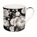 Kubek porcelanowy w kwiaty Nuova R2S Trend & Colours czarny