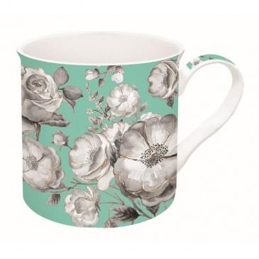 Kubek porcelanowy w kwiaty Nuova R2S Trend & Colours zielony