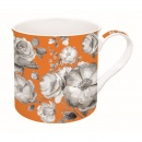 Kubek porcelanowy w kwiaty Nuova R2S Trend & Colours pomarańczowy