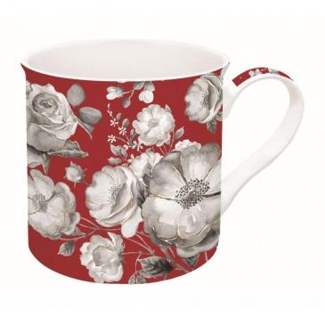 Kubek porcelanowy w kwiaty Nuova R2S Trend & Colours czerwony