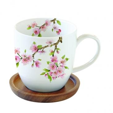 Kubek porcelanowy z podkładką akacjową Nuova R2S Sakura