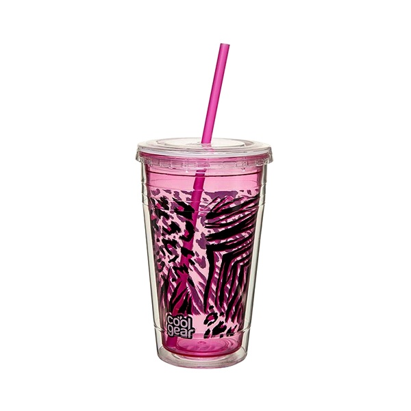 Kubek + słomka Cool Gear Chiller różowy duży 1428-03