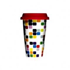 Kubek termiczny 0,25l Sagaform Cafe porcelana z czerwoną pokrywką