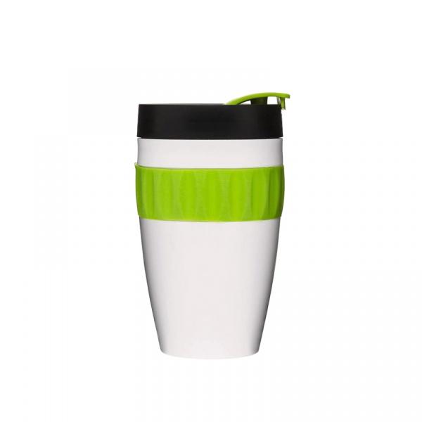 Kubek termiczny plastikowy 0,4 l Sagaform Cafe biało-czarno-zielony SF-5017153